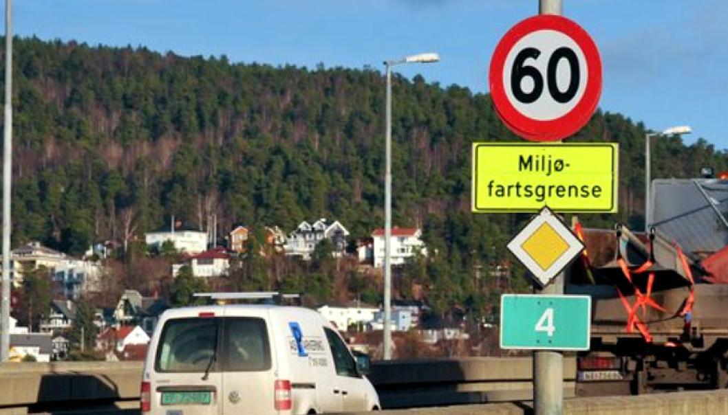Det blir variabel miljøfartsgrense på Ring 3 Ullevål – Granfosstunnelen og E18 Hjortnes – Lysaker. På riksvei 4 (bildet) blir det fortsatt fast miljøfartsgrense på 60 km/t.