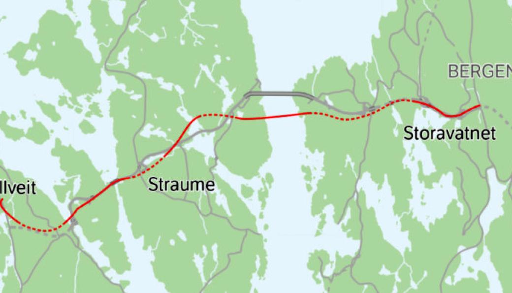 Kart over ny riksvei 555 Sotrasambandet, markert med rødt.