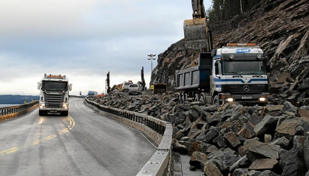 Illustrasjonsbilde, fra byggingen av ny E6 ved Mjøsa sør for Tangen.