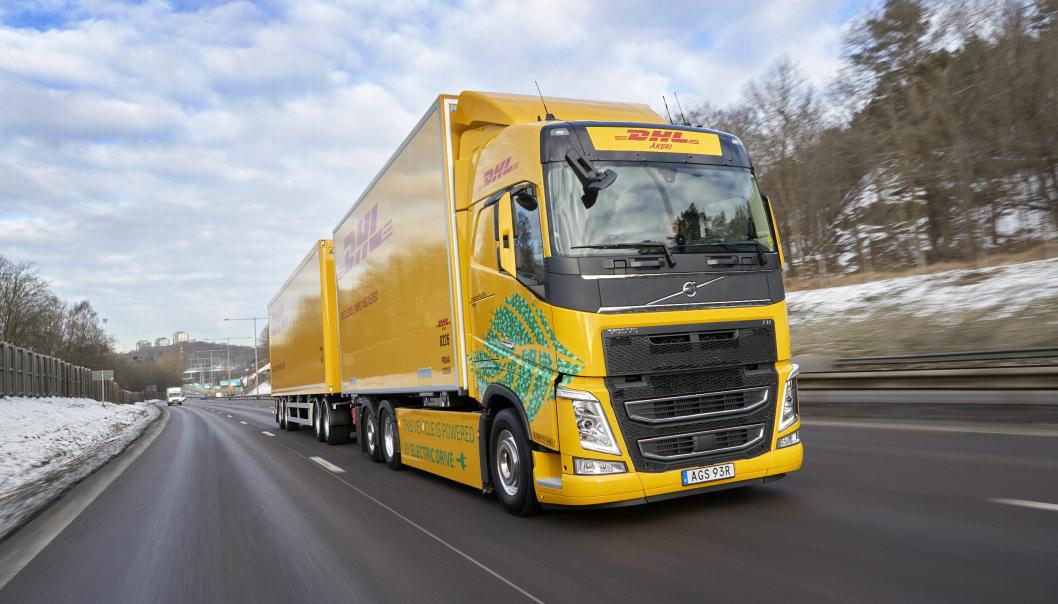 Elektrisk Volvo FH-vogntog med tillatt totalvekt på 60 tonn pilottestes av DHL Freight i Sverige.