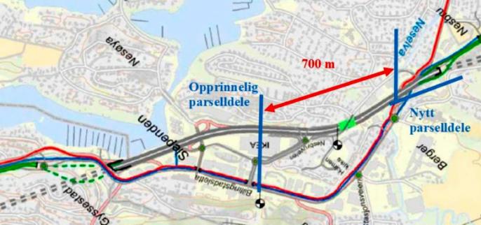 Endring av etappedelet fra Slependen til Nesbru; Ramper t/f E18 i dagens kryss med Nesøyaveien fjernes og det bygges et nytt kryss med lokalveien vest for Ikea. Grønne veier viser hovedsamlevei og ramper, røde veier viser hovedsykkelvei og blå veier viser bussløsning.