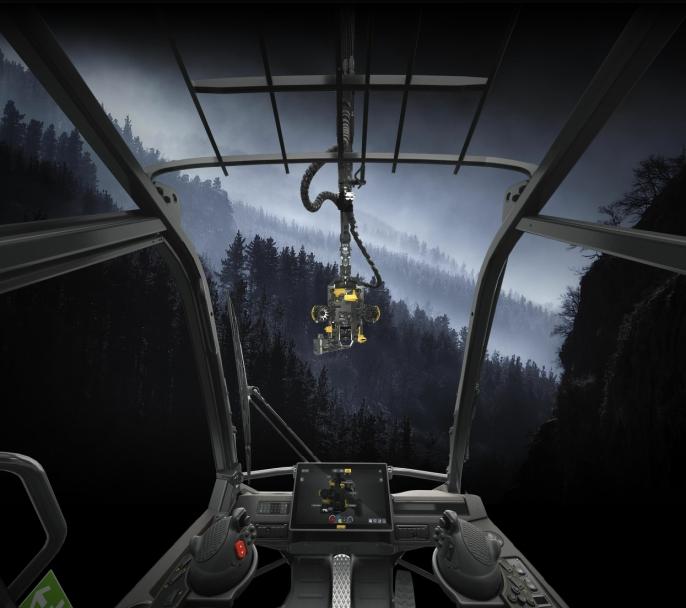 Utsikten fra førerplass i nye Ponsse Scorpion hogstmaskin.