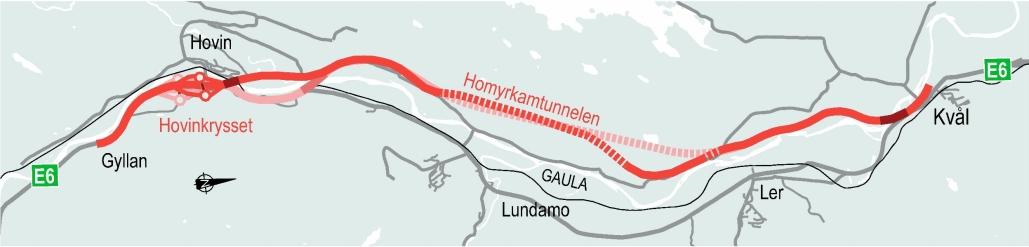 Den mørkerøde linjen viser Nye Veiers nye traséforslag fra Gyllan til Kvål. Linjen i lysere rødfarge viser opprinnelig plan.