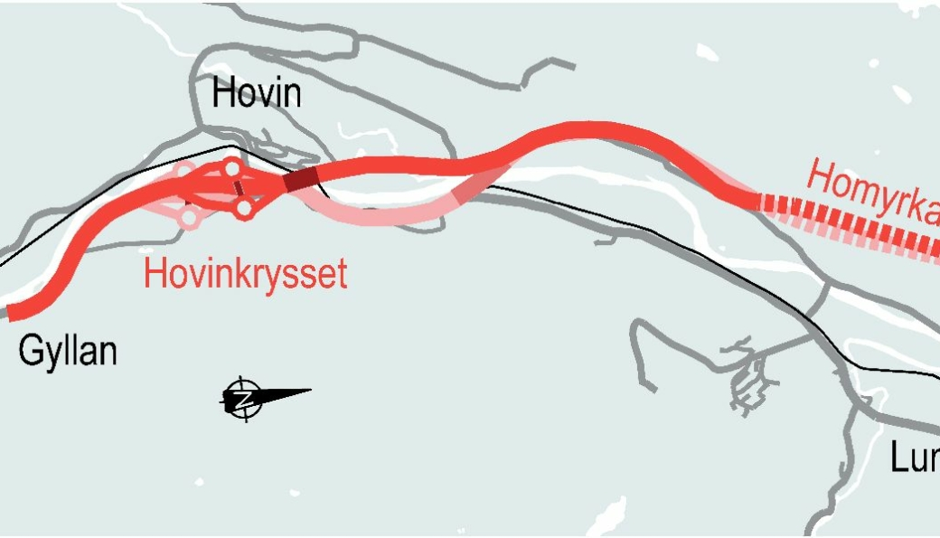 Foreslår ny trasé: Den mørkerøde linjen viser Nye Veiers nye traséforslag fra Gyllan til Kvål. Linjen i lysere rødfarge viser opprinnelig plan (se større utsnitt i teksten nedenfor).