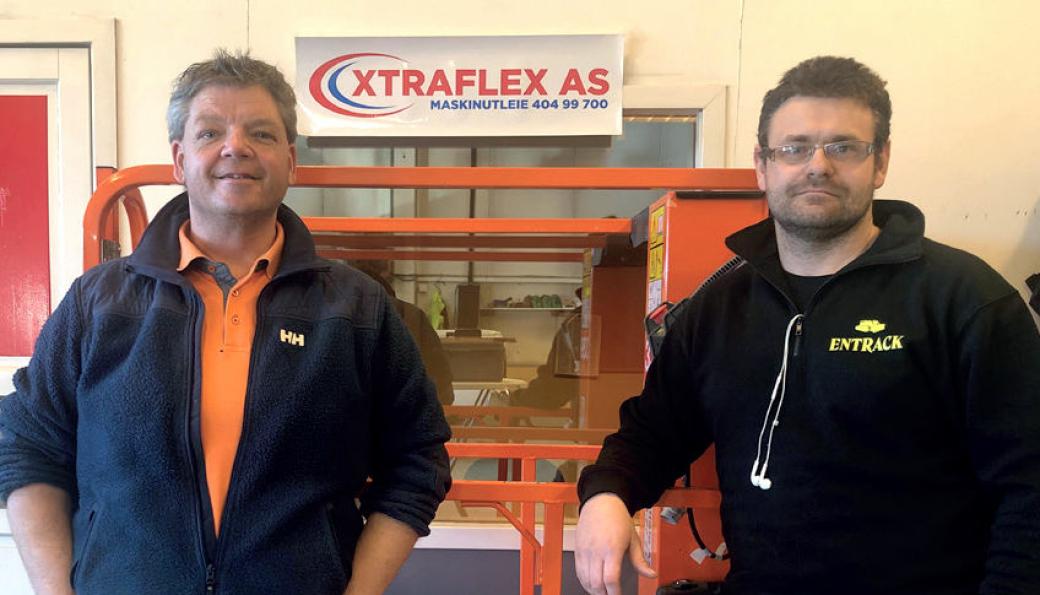 Daglig leder Knut Haugen sammen med Kent Koch i tidligere Xtraflex AS, nå Entrack Utleie Viken AS.