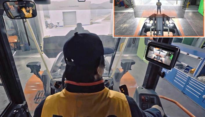 Et sammensatt bilde viser hva som er i blindsonen for hjullasterføreren.