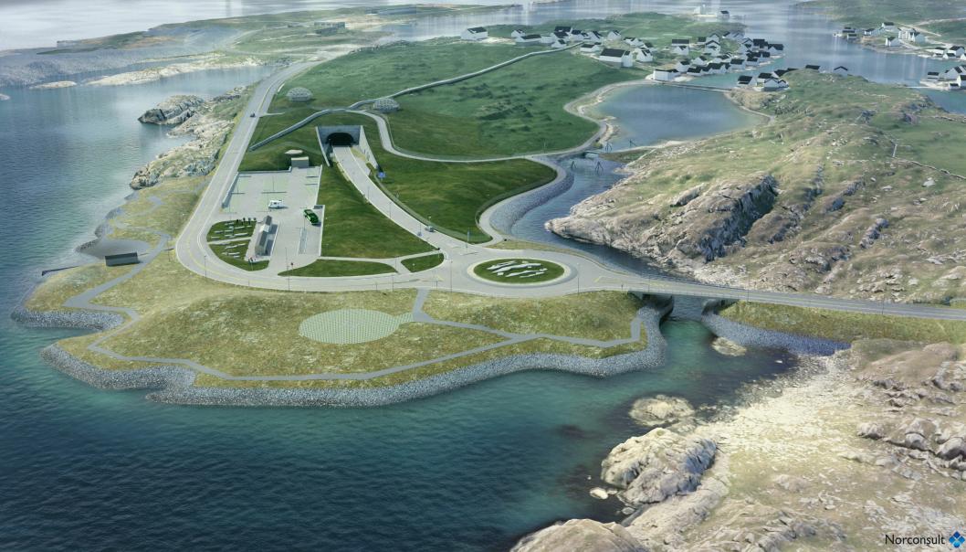Tunnelen skal ha helning på sju prosent ned fra Kvitsøy.