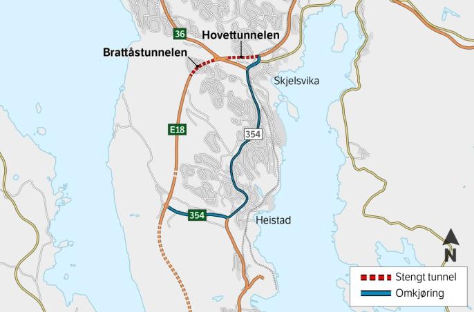Om nettene blir det omkjøring på fv. 351 mellom Skjelsvik og Heistad.