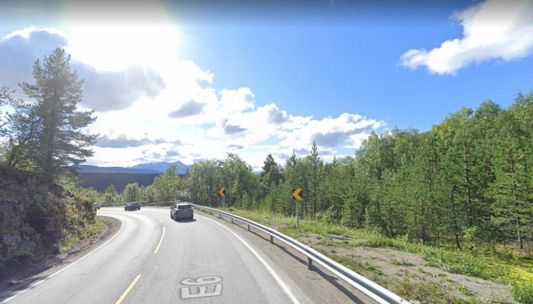 Bilde fra E6 ved Ulvsvågskaret i Nordland.