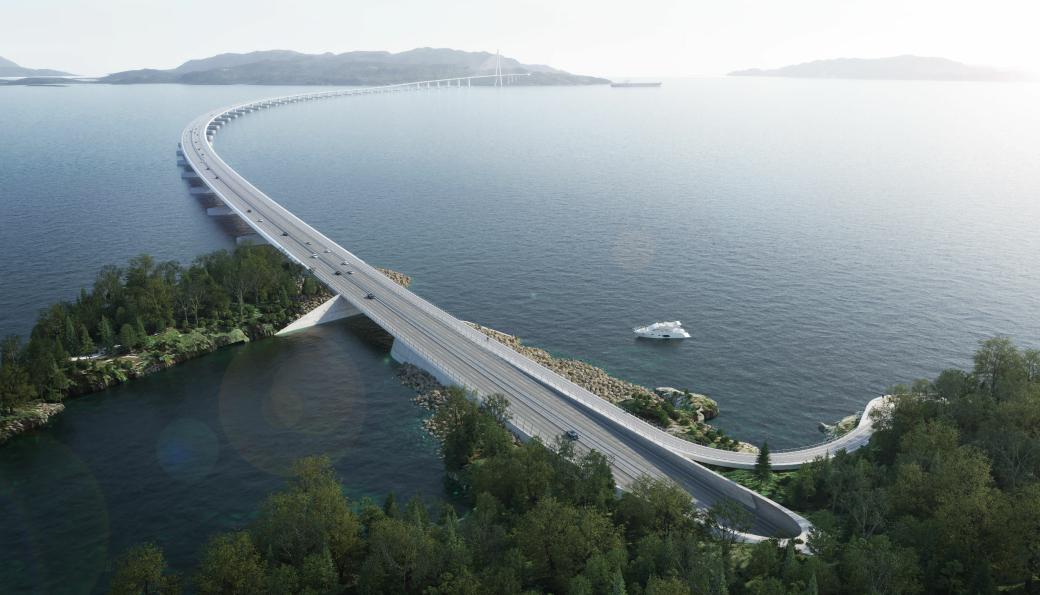 Innkjøring på den 5,5 km lange brua over Bjørnafjorden skal skje via tunnel.