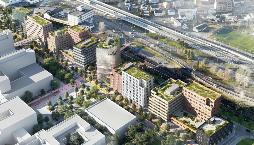 I GANG: Drammen Helsepark blir omfattende. Illustrasjon: Grape architects