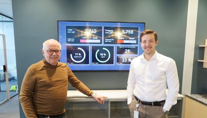 KONTROLL: Trygve Ollendorff (t.v) og Knut Harald Ollendorff foran tavlen som viser produksjon, salg, dødtid og mer fra driften.