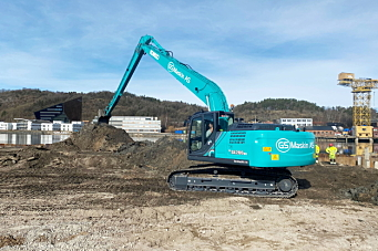Norges første Kobelco langgraver til GS Maskin