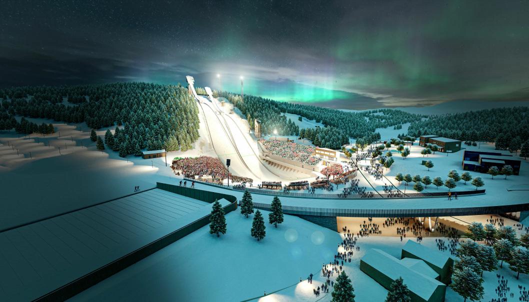 Slik er det tenkt at den nye Granåsen Idrettspark skal se ut.