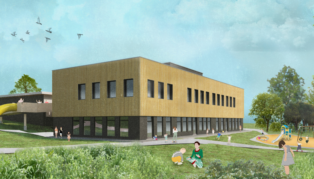 LANGELAND SKOLE-TILBYGG: Slik vil det 1600 kvadratmeter nye tilbygget på Langeland skole i Kongsvinger fremstå når det står ferdig til skolestart neste år. Budsjettet er på 87,5 millioner kroner. Illustrasjon: Architectopia