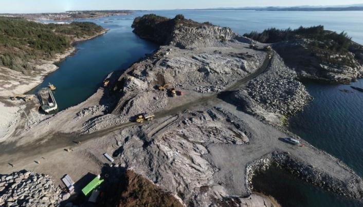 Slik ser det ut på anleggsområdet hvor Skanska bygger CO2 mottaksanlegg for Northern Ligths.