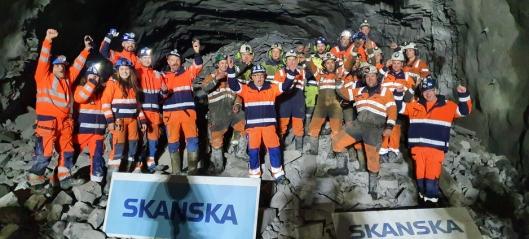 Gjennomslag i Skarvberg-tunnelen i dag