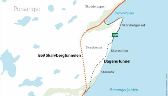 Ny tunnel og vei går til venstre for dagens trasé.