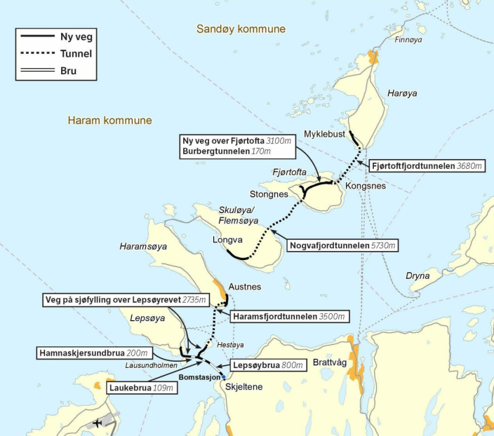 Kart over Nordøyvegen.