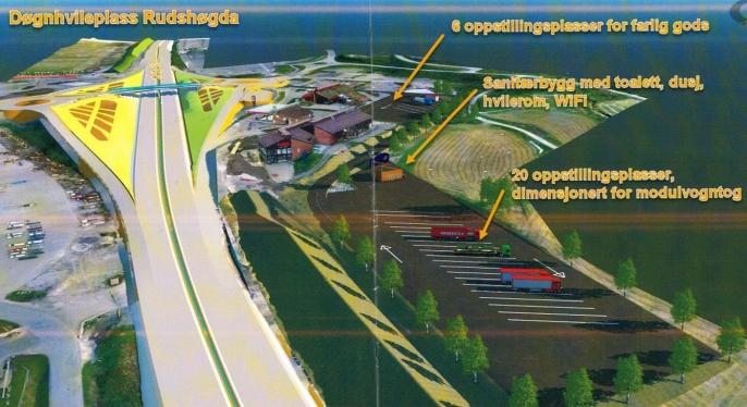 Den nye døgnhvileplassen på Rudshøga skal gi plass til minst 20 vogntog. (Foreløpig ideskisse).