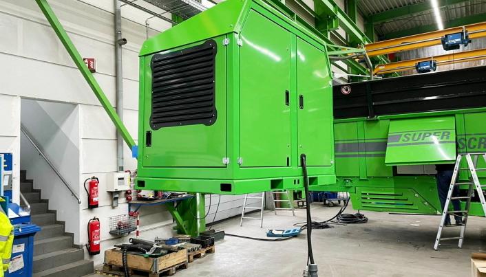 AVLØFTBAR: Konseptet med avløftbar strømgenerator har Neuenhauser utviklet etter modell fra tilsvarende løsning på Keestrack knuseverk.