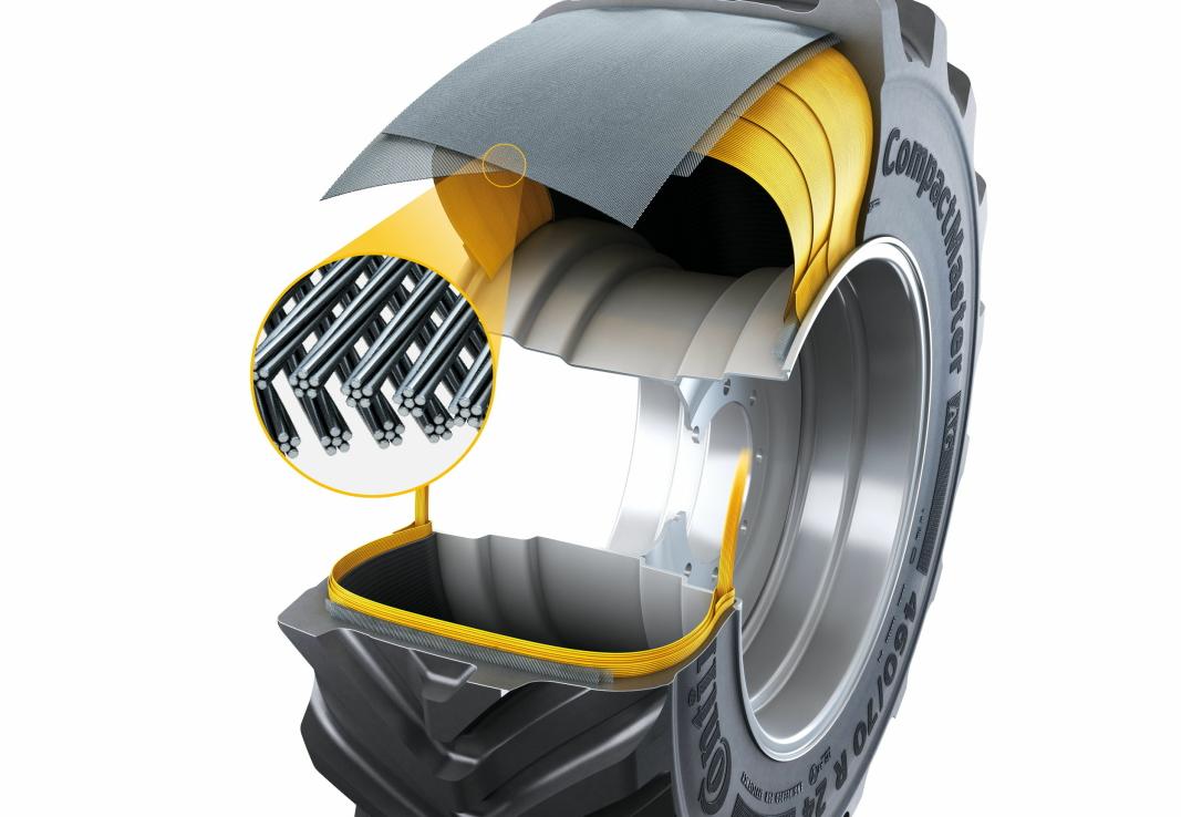 DIMENSJON: Continental CompactMaster AG kommer for 24 tommers hjul, i dimensjonen 460/70R24 159B. Foto: Continental
