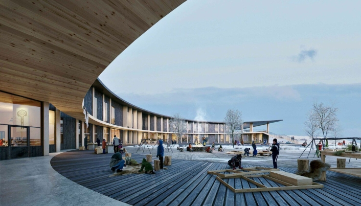 Nye Kautokeino skole: Et sirkelformet uterom binder sammen skolens soner både innvendig og utvendig.