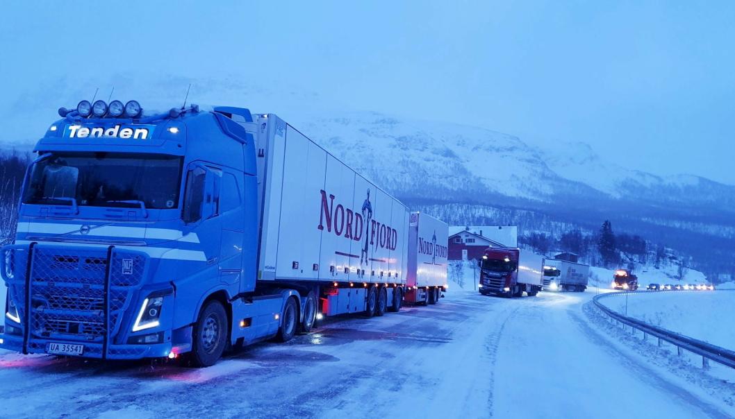 VENTER: Her venter Oddvar Nyland på kolonnekjøring på Filefjell ettersom både Strynefjellet og Hemsedalsfjellet var stengt på grunn av dårlig vær.
