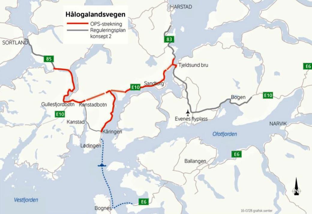 OPS-prosjektet E10 Hålogalandsvegen (E10/rv. 85 Tjeldsund–Gullesfjordbotn–Langvassbukt) Strekningen som skal bygges er markert i kartet med rød farge. Rød stiplet linjer markerer nye tunneler.
