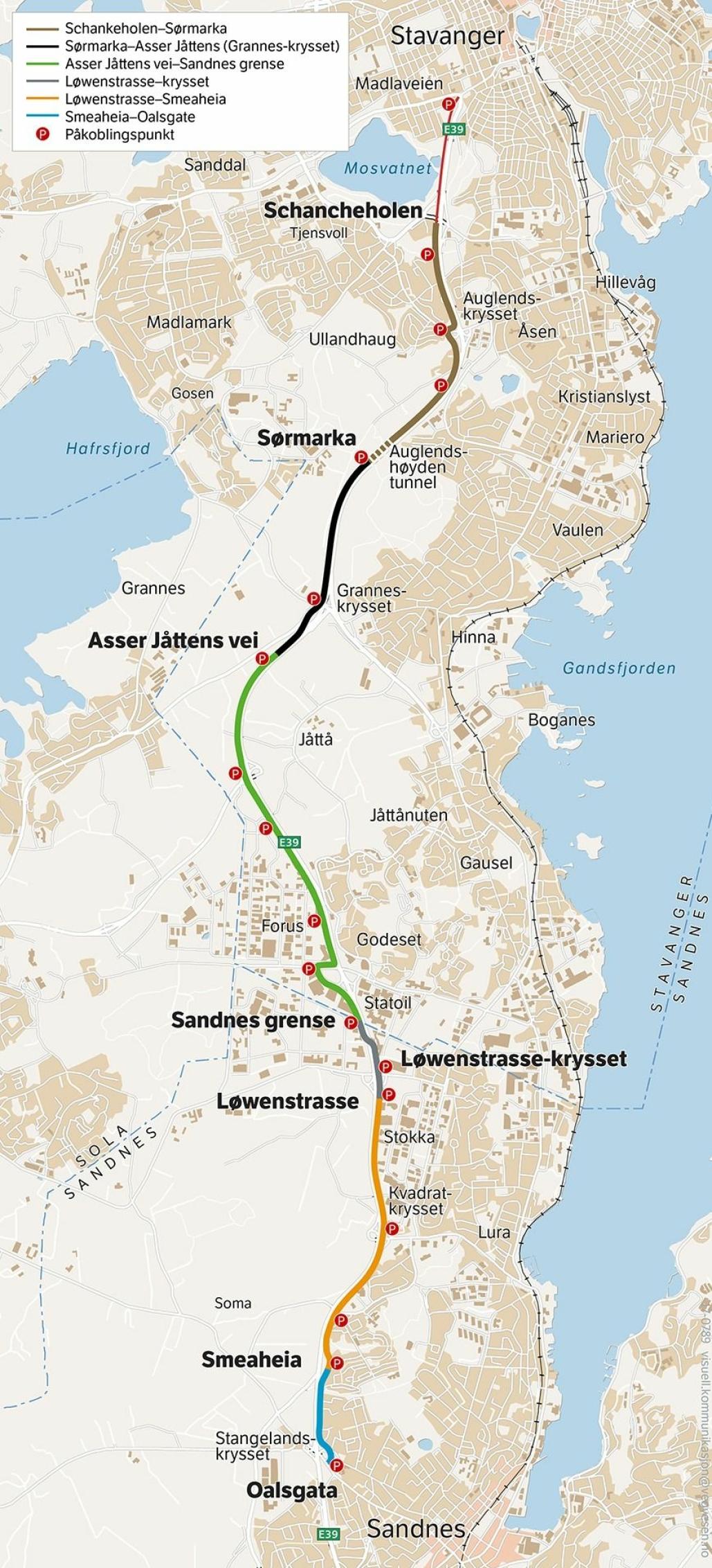 Det er strekningen fra Sørmarka til Asser Jåttensvei som nå skal bygges (merket med svart).