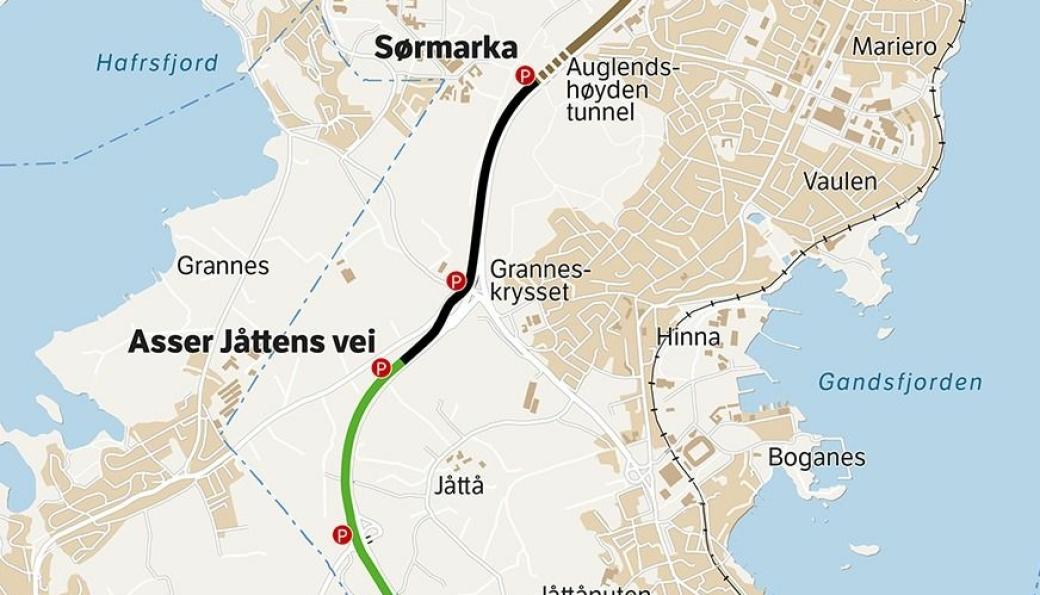 Det er strekningen fra Sørmarka til Asser Jåttensvei som nå skal bygges.