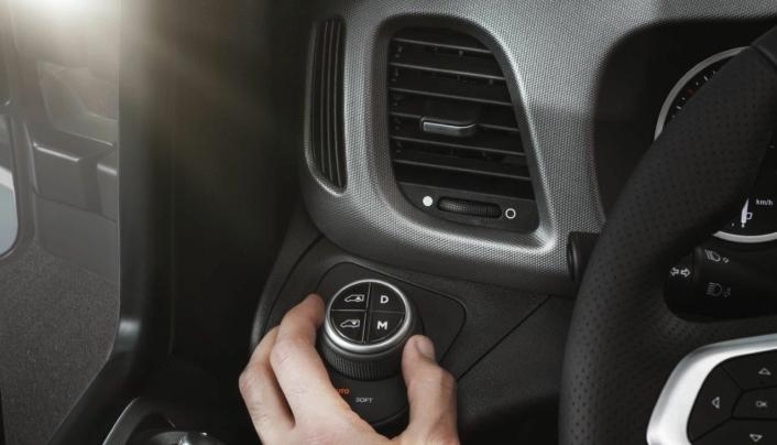 INNSTILLING: Med det nye dreiehjulet kan føreren velge innstillinger på luftfjæringen.