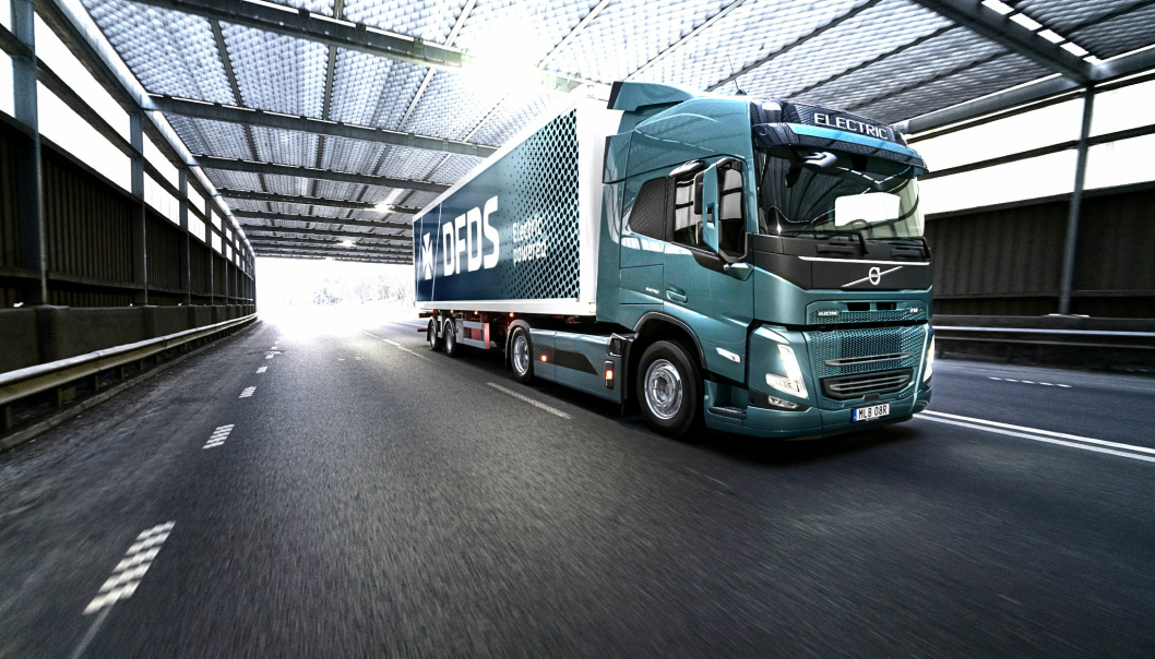 DFDS' nye Volvo FM Electric som skal kjøres i Göteborg-området.