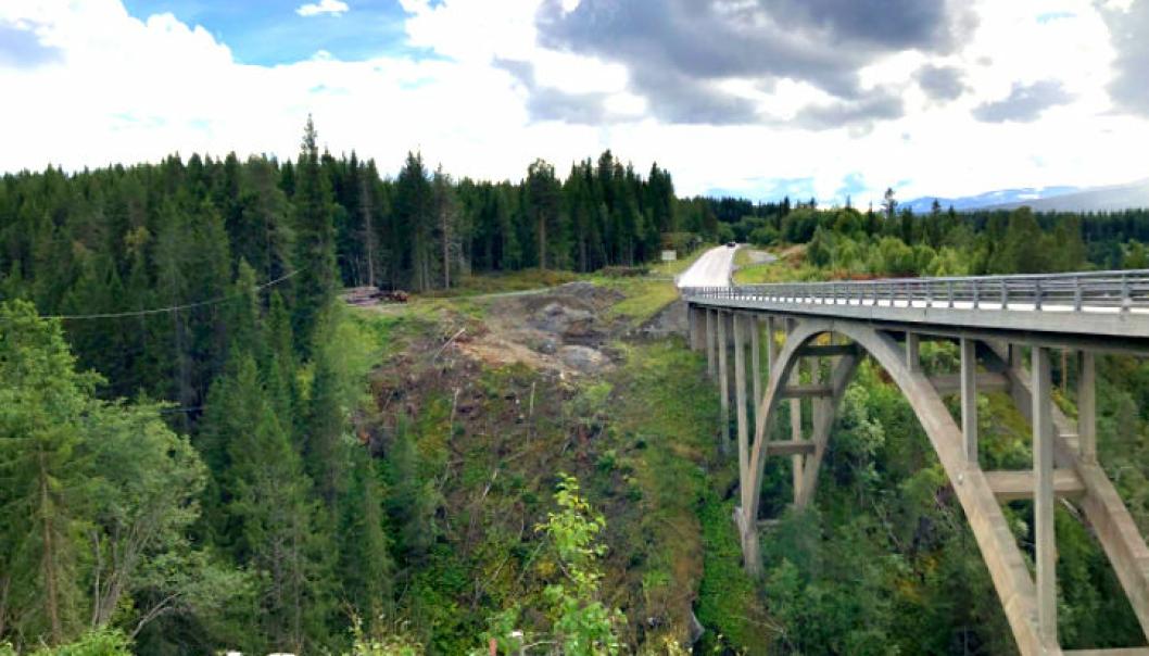 Her rett oppstrøms for dagens Stavåbru i Rennebu, blir den midlertidige brua for E6-trafikken bygget.