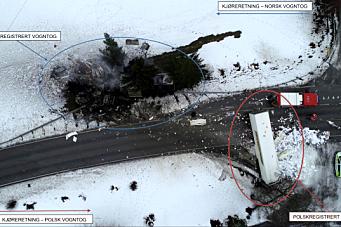 Rapport etter frontkollisjon mellom to vogntog