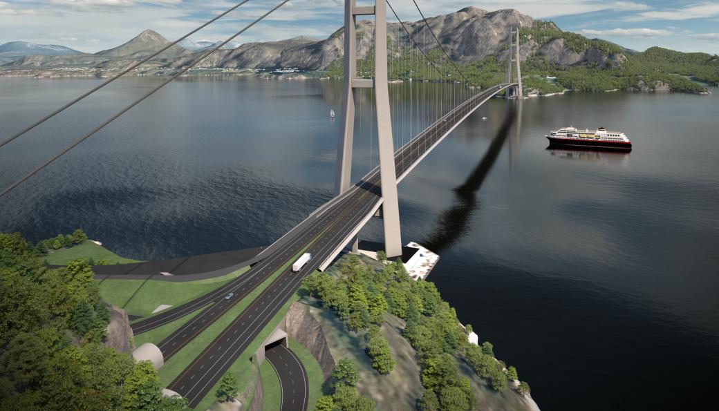«Golden gate» Julsundet er en del av av kryssingen av Romsdalsfjorden og E39 Ålesund-Molde. Vegvesenet deler prosjektet til ca. 25 milliarder kroner inn i 20-25 kontrakter.