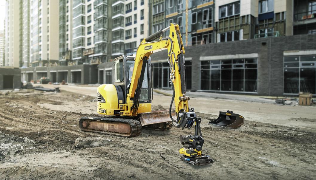 Maskinfestet S40 fra Engcon gjør at hurtigkobling blir raskt og sikkert på de mindre gravemaskinene.