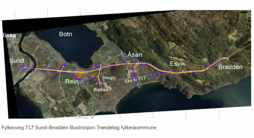 Kontrakten gjelder fylkesvei 717 Sund-Bradden i Indre Fosen kommune.