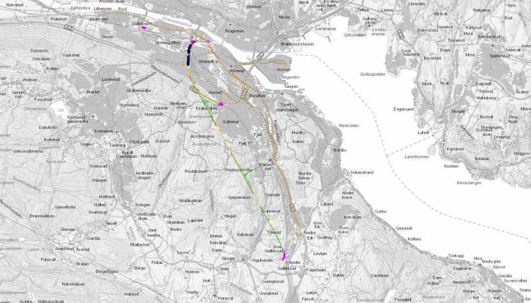 Bane Nor bygger nytt dobbeltspor mellom Drammen og Kobbervikdalen på Vestfoldbanen for mange milliarder kroner. Nå er tre nye kontrakt-tildelinger annonsert for strekningen, som er markert med gult, grønt og rødt.
