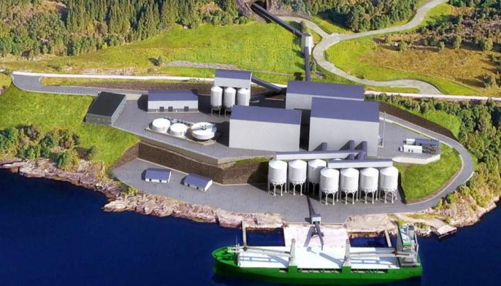 PROSESSANLEGGET: Dette skal bygges rett ved Førdefjorden, med enkel tilgang for skip til å hente steinmaterialene.