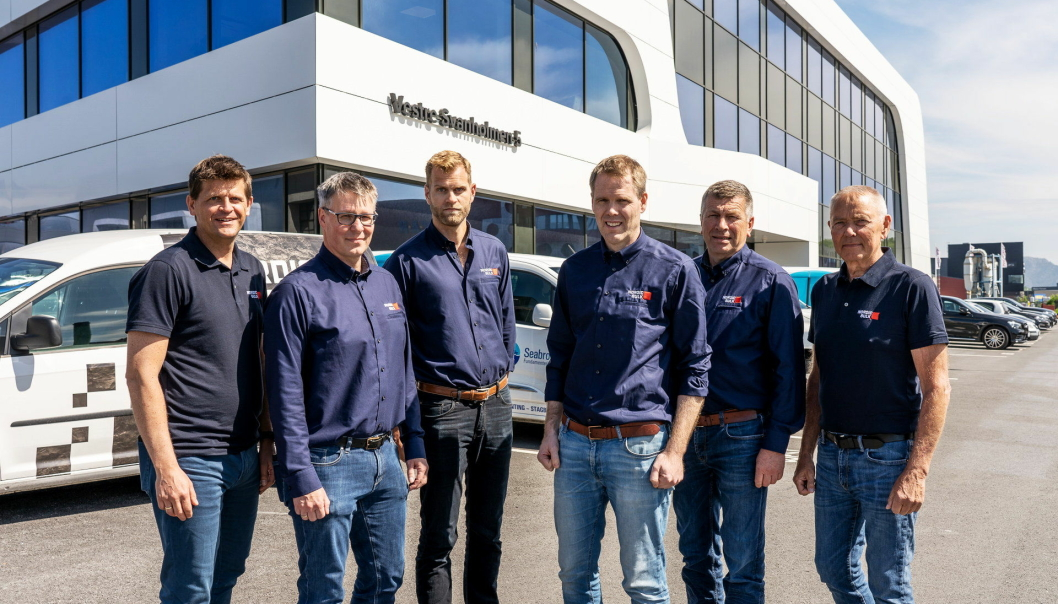 TEAMET: Her er ledergruppen i Nordic Bulk. Fra venstre: Atle Maudal, Sjur Bjerke, Anders Ask (prosjektleder for Engebø-prosjektet), Peder Egeland, Jone Mæland og Karstein Øvstebø.
