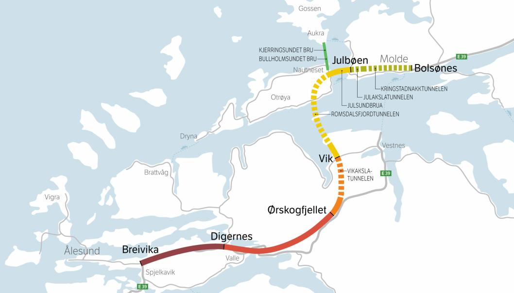E39 Ålesund-Molde inneholder flere tunneler, bruer og veistrekninger. I første omgang skal strekningen fra Ørskogfjellet mot Molde ut på anbud.