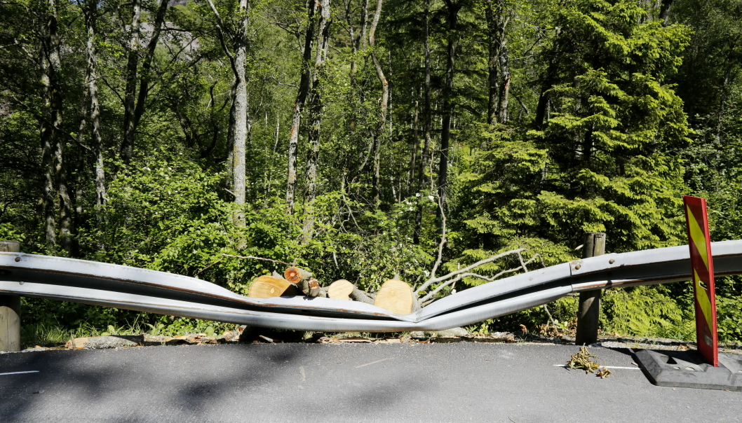 FEILBEREGNING: Langs fylkesvei 44 i Sokndal kommune i Rogaland var det noen som hadde beregnet litt feil…