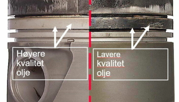 STEMPEL: Her ser vi to stempler som har gått med ulike oljekvaliteter.