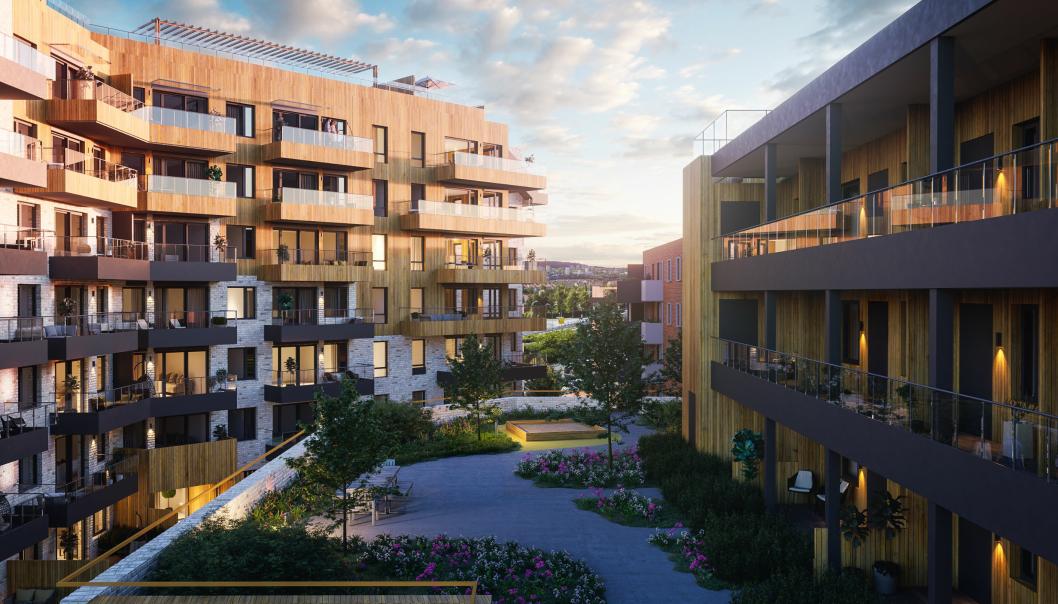 Prosjektet består av 59 leiligheter fordelt på to nybygg, et næringsareal på ca. 900 kvadratmeter, garasje med bodanlegg og felles uteoppholdsareal. Illustrasjon: Rift.