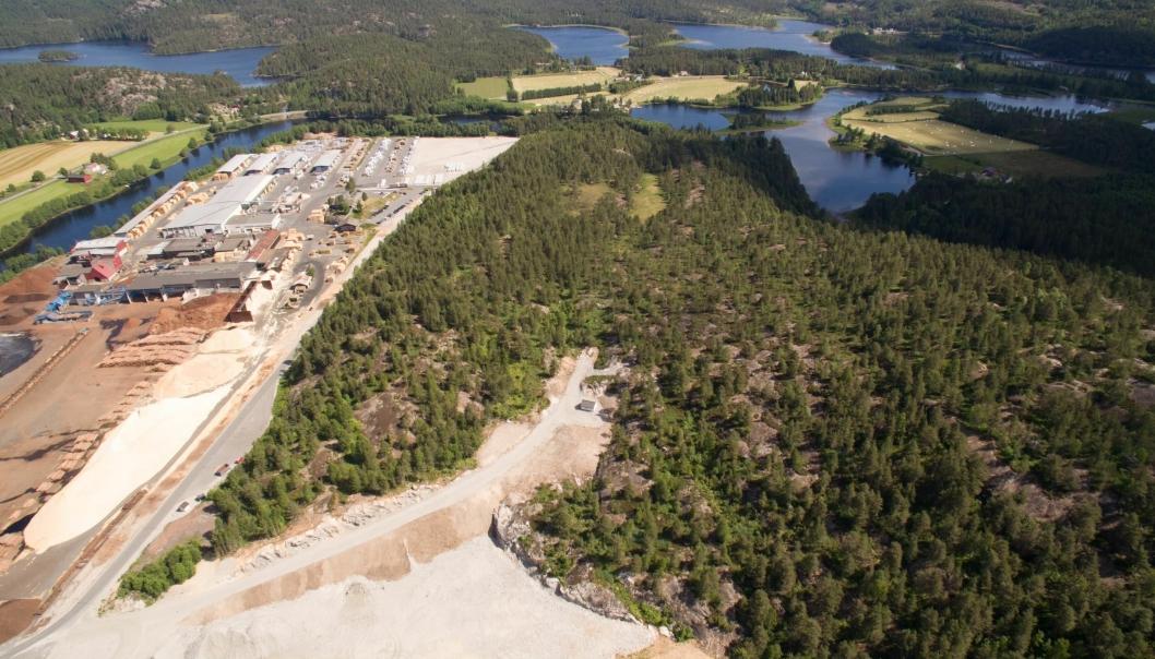 Biozins nye anlegg skal bygges inntil Bergene Holms sagbruk på Åmli i Agder.