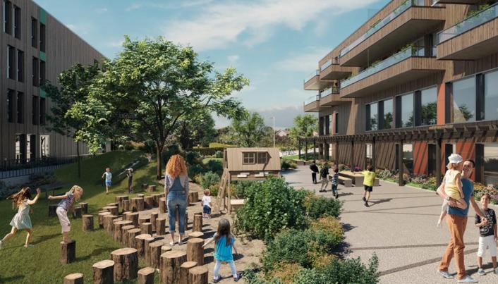 Mellom byggene blir det et stort og åpent gårdsrom med felles hage og lekeplasser.