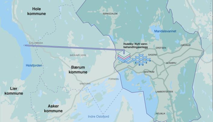 Ny reservevannløsning fra Holsfjorden i Buskerud til Oslo skal være på plass innen 2028. (Illustrasjon: Oslo kommune)
