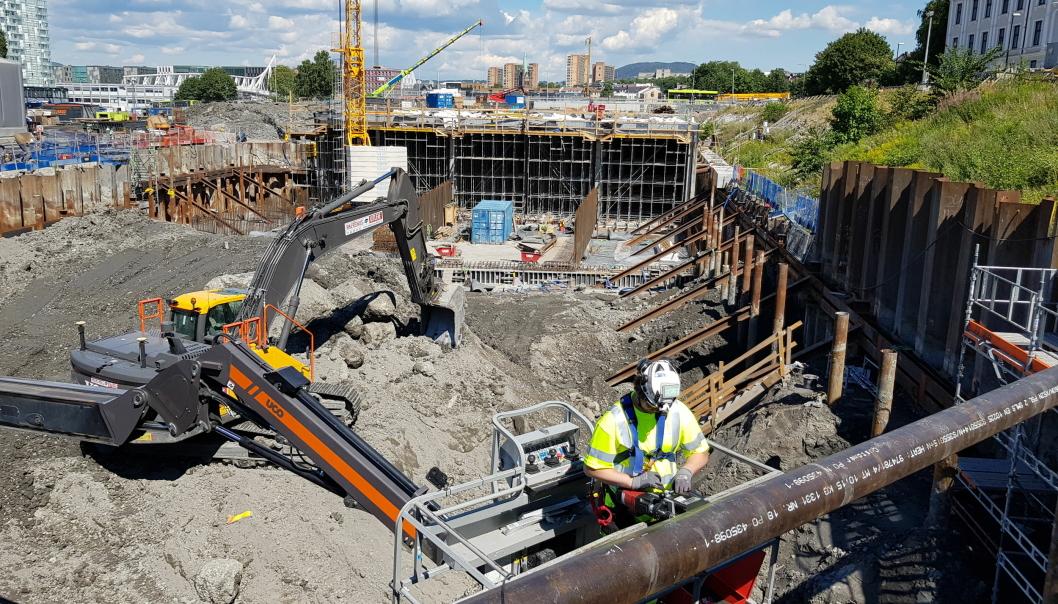 Cautus Geo har lang fartstid på Follobaneprosjektet. Bilde fra overvåking på Innføring Oslo S, fra Ekebergåsen, gjennom Middelalderparken og inn på stasjonsområdet som startet i 20216.