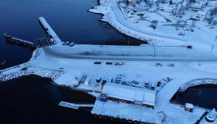 Slik ser fergeleiet ved Kjøpsvik ut før bygging av nytt kaianlegg starter.